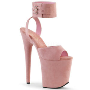 Pleaser-FLAMINGO-891-Women-039-s-Pink-Faux-Suede-Platform-Band-Ankle-Strap-Sandals