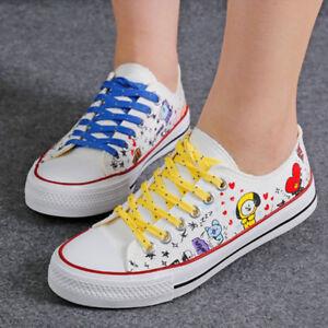 dba2d3ed0e77 Details about Kpop BTS BT21 Bangtan Boys Canvas Low Tops Shoes Women Casual  Shoes JIMIN