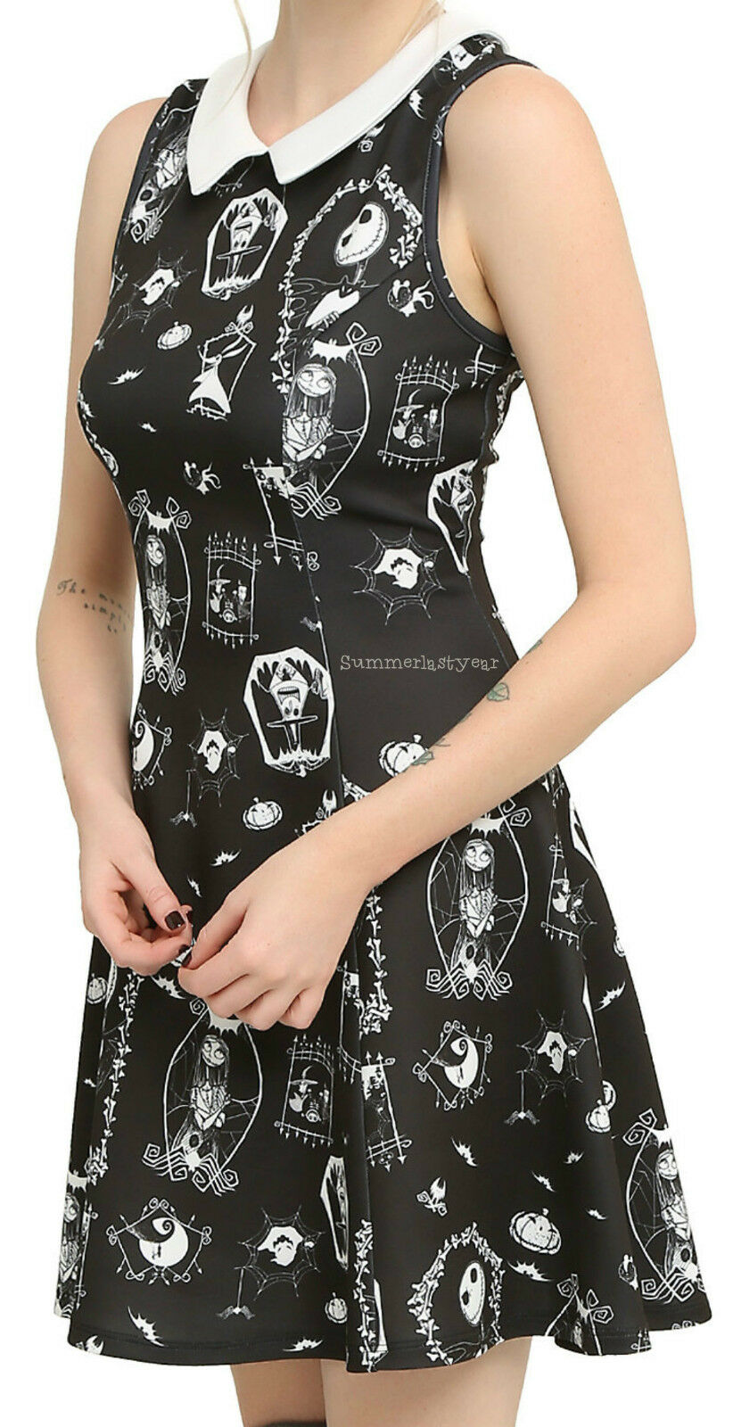 THE NIGHTMARE BEFORE CHRISTMAS JUNIORS FIT AND FLARE CHARACTER DRESS FREE SHIP