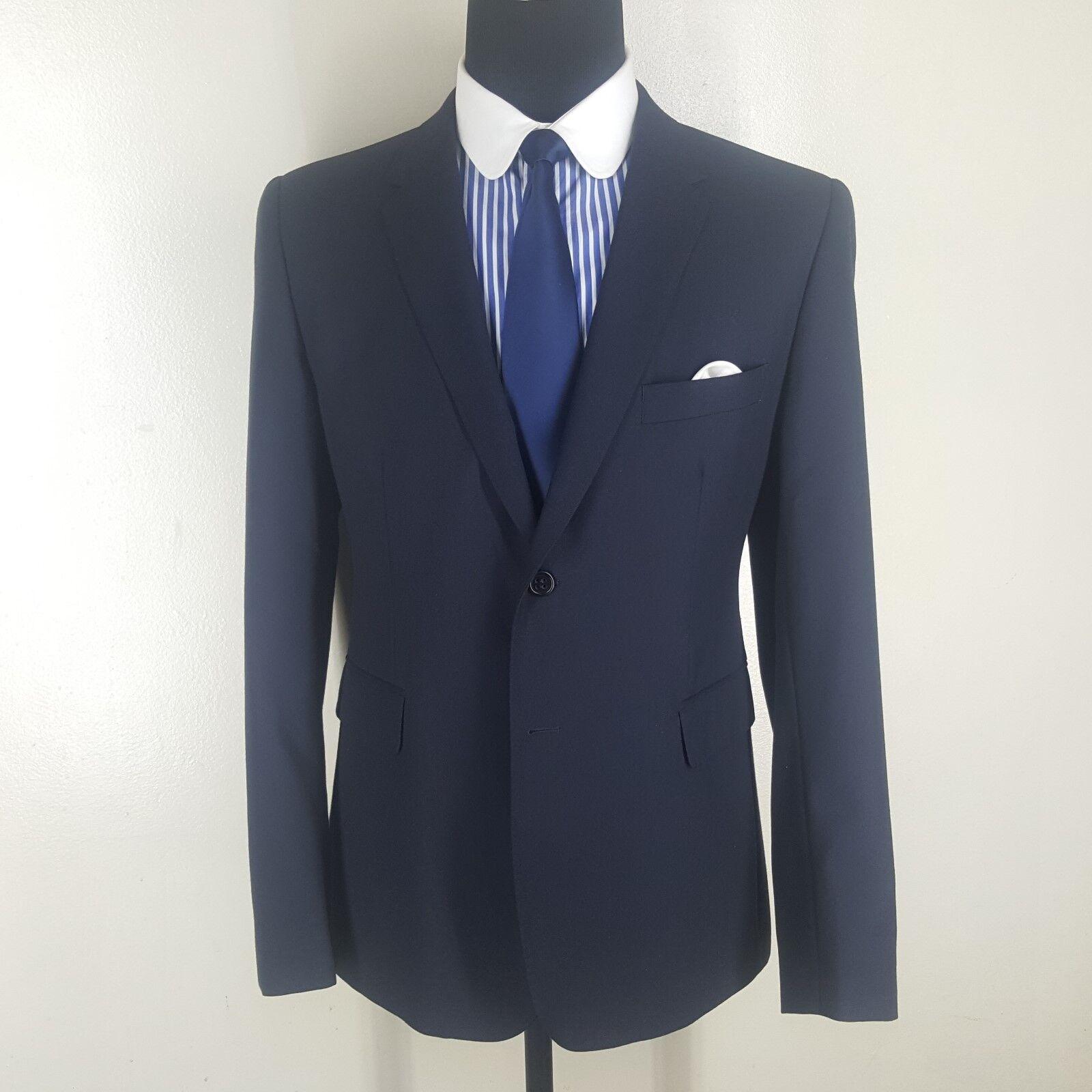 SHIPLEY & HALMOS Recent bluee Blazer 100% Wool  2 Btn Center Vent  44 R  --Mint
