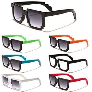 561985966206 8 Bit Square Pixel Glasses Black White Red Nerd Retro Sunglasses ...