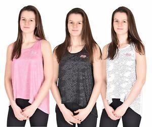 Senoras-Chaleco-Gimnasio-Dobladillo-Ancho-Mujeres-Skechers-Algodon-Camiseta-Deportes-Top-Camiseta