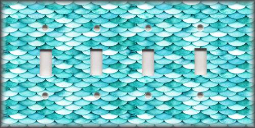Metal Light Switch Plate Cover Coastal Decor Beach Decor Mermaid Fish Scales 02