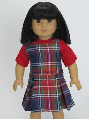 RED PLAID SCHOOL UNIFORM JUMPER & Red T-Shirt fit American Girl