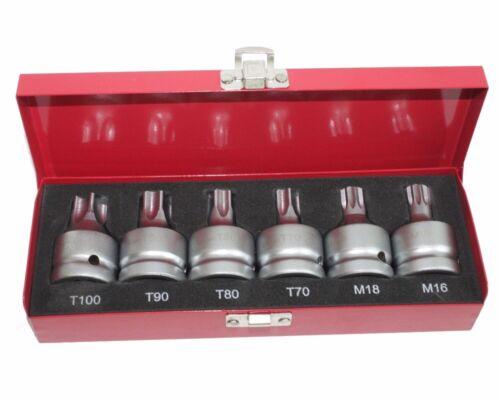 """6 pcs  3//4/"""" Dr Spline and TamperProof Star Socket set T100 T90 T80 T70 M18 M16"""
