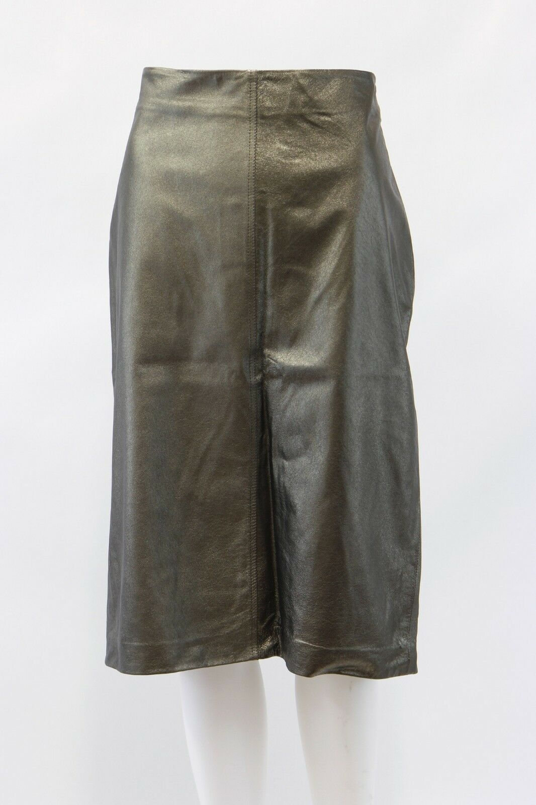 NWT 2695 Brunello Cucinelli 100% Leather Metallic Pencil Skirt Größe 44  8US A181