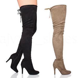 0d8a97c3de4 WOMENS LADIES HIGH HEEL ZIP STRETCH OVER THE KNEE TIE UP THIGH HIGH ...