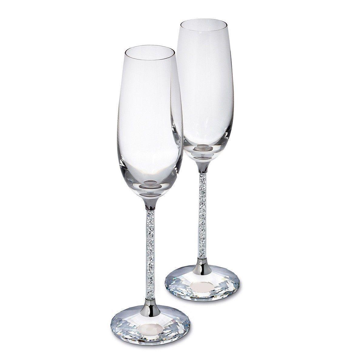 2 x riempito di cristallo Champagne flauti anniversario MATRIMONIO Natale Xmas
