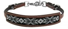 Showman Medium Oil Leather Wither Strap W/ Teal Beaded Inlay Horse Tack