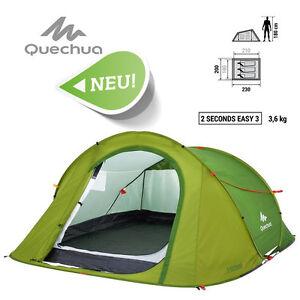 top quechua iii easy pop up camping zelt wurfzelt 2 seconds 3 personen tent neu ebay. Black Bedroom Furniture Sets. Home Design Ideas