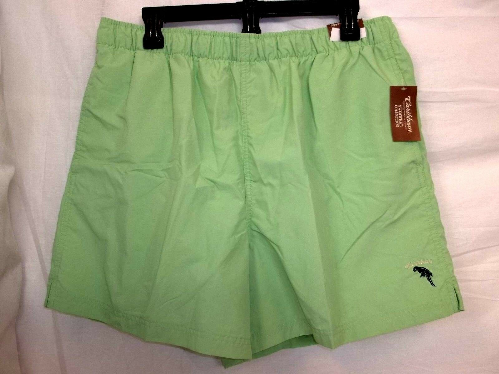 Caribbean Roundtree & Yorke Size L Large Mint Green New Mens Swimming Trunks