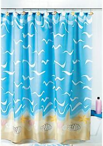 Charmant Image Is Loading Seashell Shell Starfish Sand Dollar Shower Curtain Bath