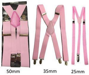 79bd890c540f2 Détails sur Rose Hommes Femmes Bretelles Élastique Large Durable Pantalon  25mm 35mm 50mm