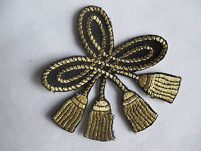 "#3610 3"" Black,golden Rope Knot Embroidery Iron On Applique Patch"