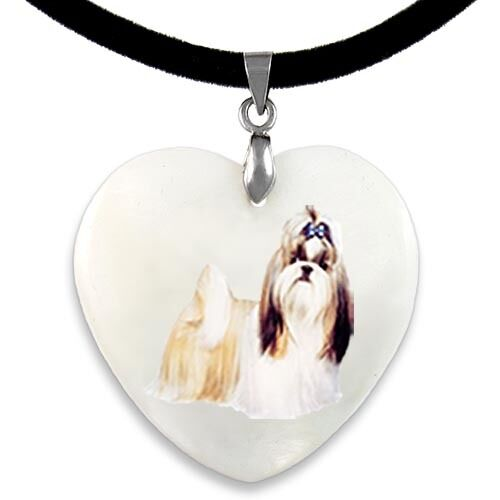 Heart Shih Tzu Dog Natural Mother Of Pearl Heart Pendant Necklace Chain PP280