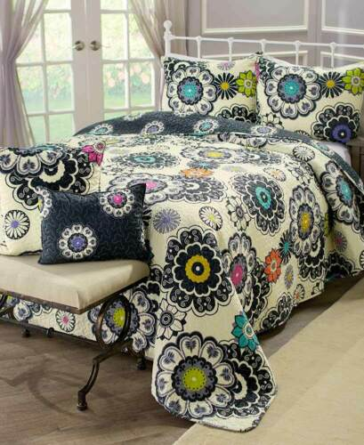 5 Pc Boho Reversible Quilt Set Colorful Bedroom Bed Decor Pillow Full Queen King