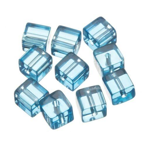 Pequeñas cuentas de Vidrio Transparente Cubo Turquesa 8x8mm Paquete de 10 B52//9