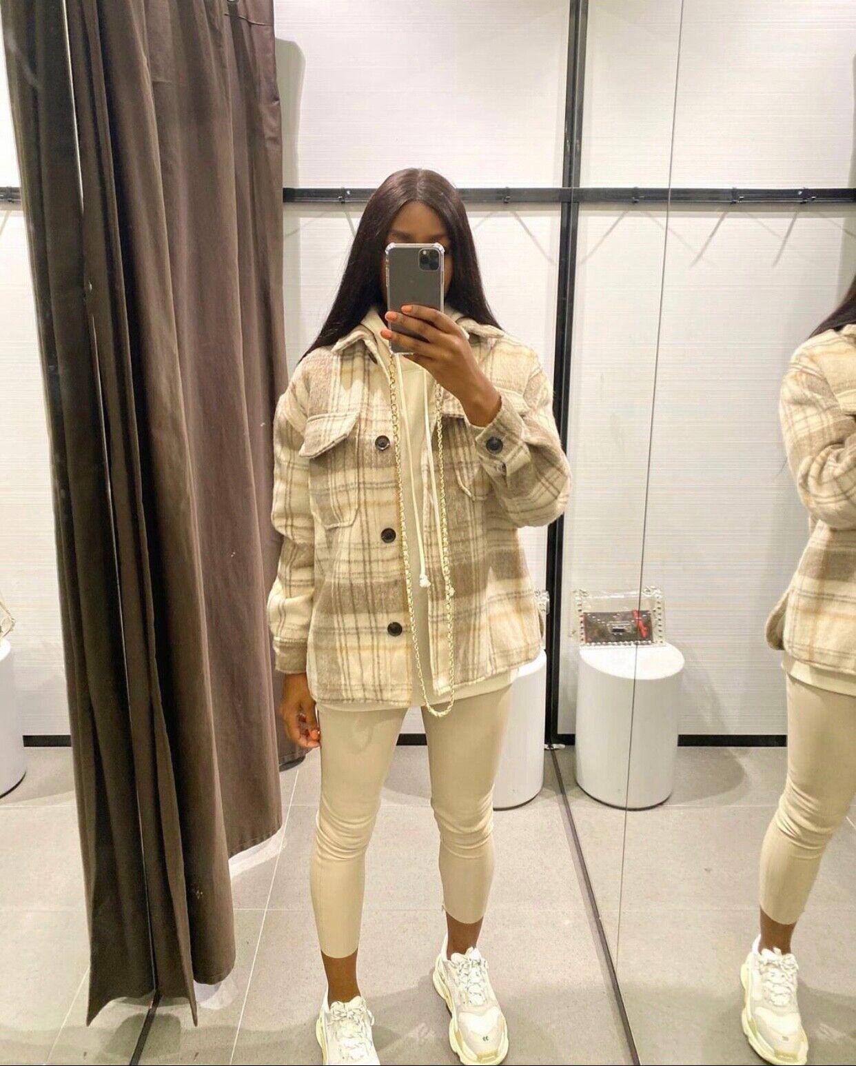 Bershka Plaid Woman's Oversized Overshirt Jacket Bloggers Favorite XS-S Sold Out