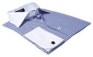 Labiyeur-Para-hombres-Calce-Ajustado-Frances-Puno-a-cuadros-Camisa-de-vestir-cuadros-gingham-en-azul
