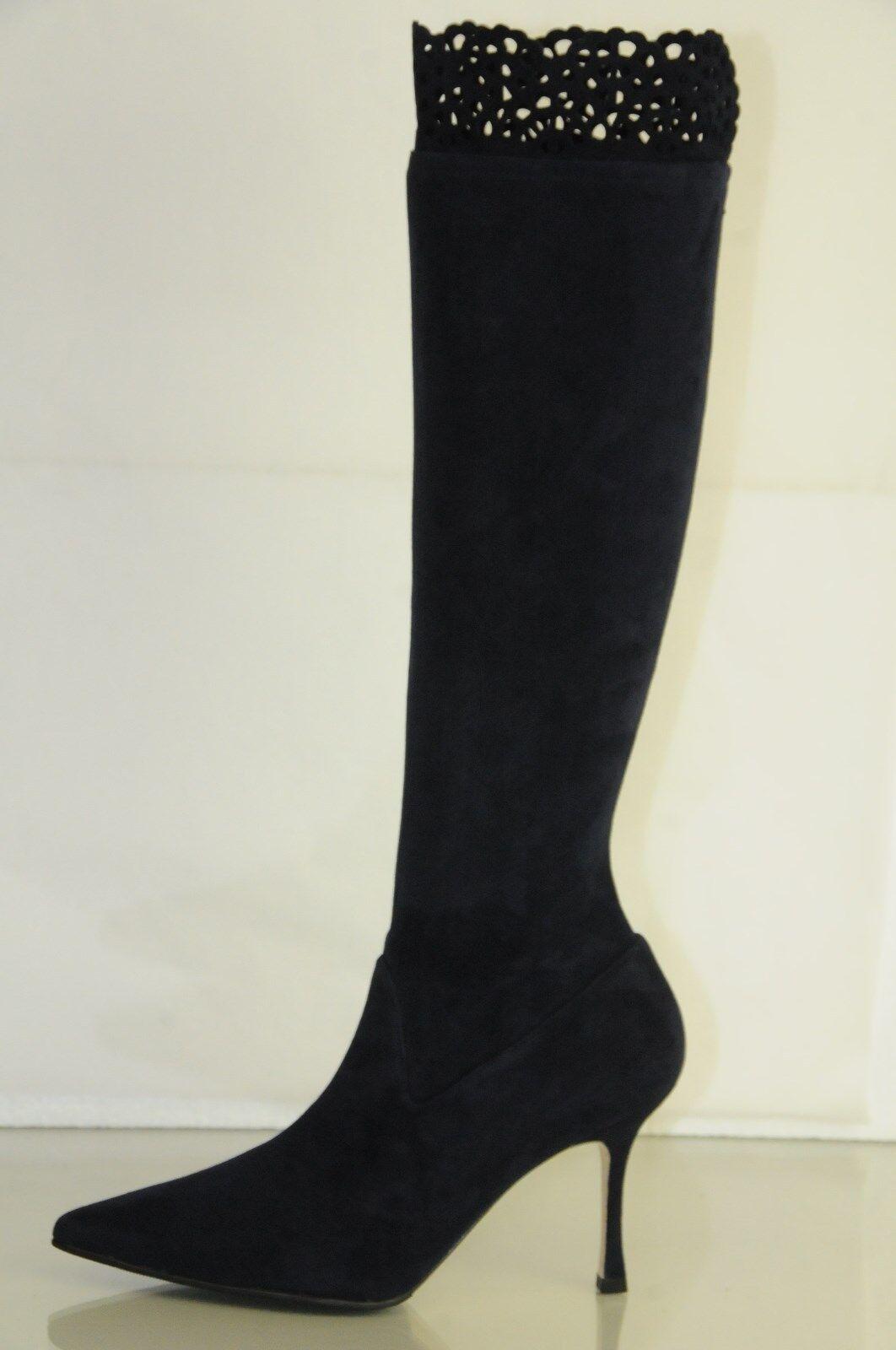 Neu Manolo Blahnik Pafatolo 90 Marine Wildleder Stretch Stiefel Schuhe 34.5 36.5