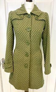 White Stuff Olive Green Diamond Polka Dot Wool Blend Jacket - UK 8