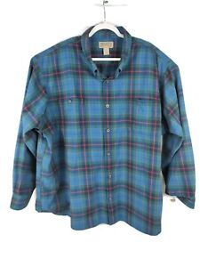 Duluth-Trading-Co-Flannel-Shirt-Blue-Plaid-Free-Swinging-Button-Down-Mens-4XL