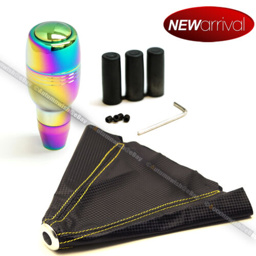 For Camaro Neo Chrome Shift Knob /& 4 Row Yellow Stitch Carbon Look Boot Cover