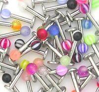 10x Stainless Steel Ball Top Lip Studs Tragus Ear Rings Monroe Labret UK