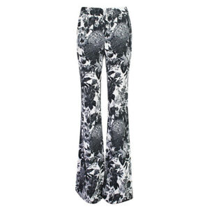 Stella-McCartney-Black-White-Floral-Flared-Trousers-Pants-IT40-UK8