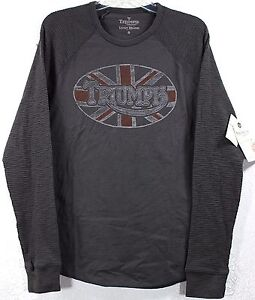 Nwt lucky brand triumph motorcycle oval flag thermal dark for Lucky brand triumph shirt