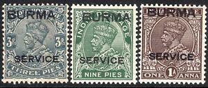 Burma-1937-Service-part-set-small-star-mint-SGO1-O3-O4-3