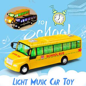 American Pull-Back Diecast Car School Bus Models Light /& Music Alloy Kids Toy