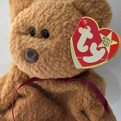 24f572272df Ty Beanie Baby 1996 CURLY bear with very rare collectible hang tush tag  error