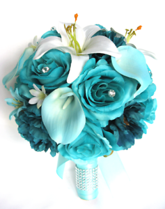 Wedding bouquets 17 pc silk flower bridal package turquoise aqua image is loading wedding bouquets 17 pc silk flower bridal package mightylinksfo