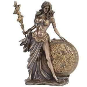 Bronze Greek Goddess Statues Lord Frigga Figurine W Staff Round Shield Mythology Ebay