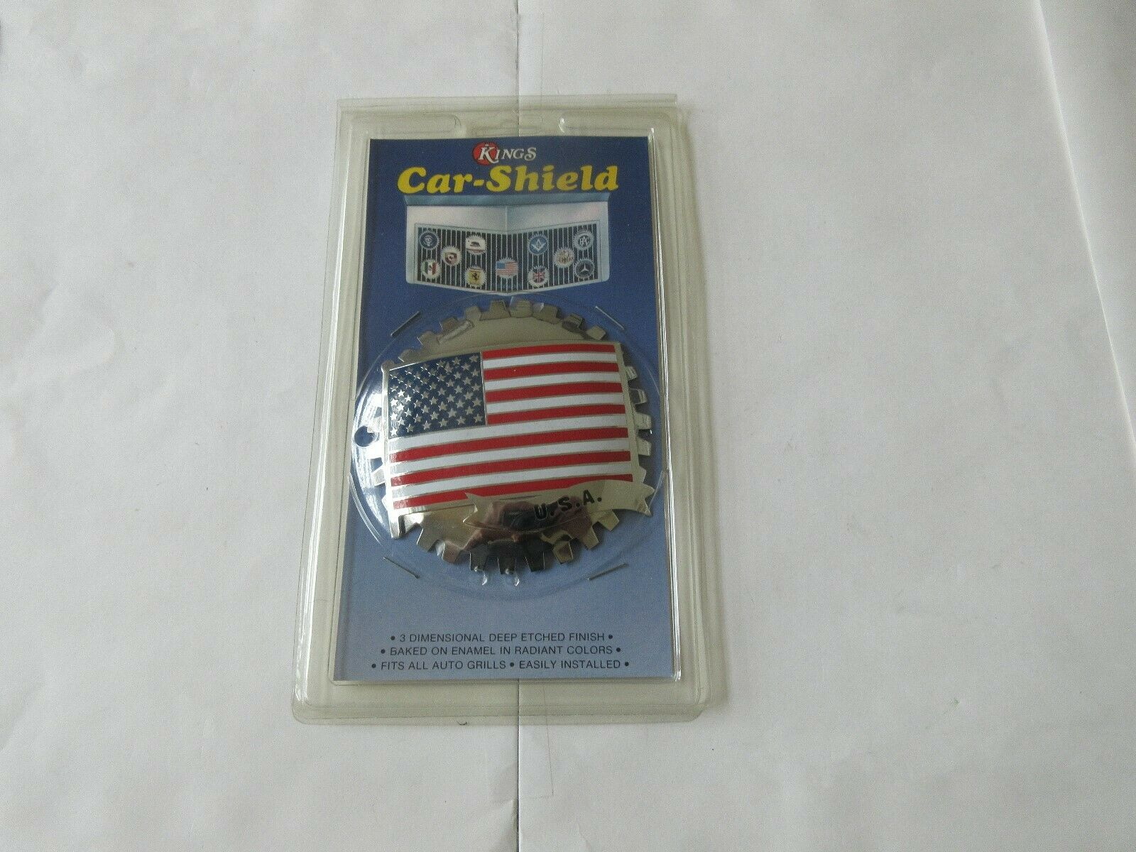 Kings Car Shield , U.S.A. FLAG , New In Package