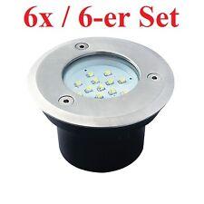 6er Set LED Bodenstrahler GORDO 0.7W SMD Bodeneinbauleuchte rund Edelstahl weiß