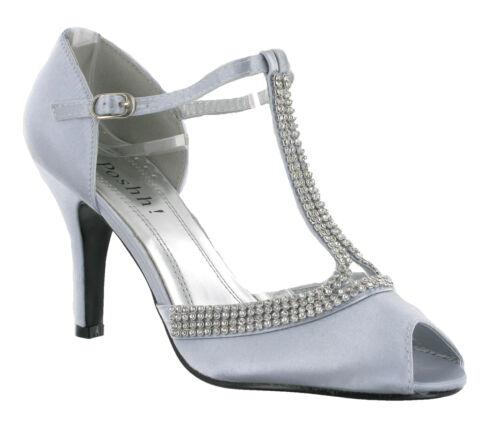 T-bar talon strass mariage robe de soirée femme de soirée chaussures uk 3-8