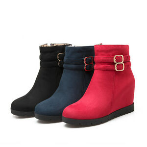 Womens-Fashion-Shoes-Faux-Suede-Wedge-High-Heels-Zip-Up-Ankle-Boots-AU-Size-b269