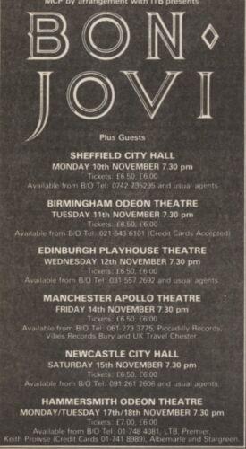 SEE BON JOVI LIVE /& VENUES IN NOVEMBER 1986 6X3 20//9//86PN55 ADVERT