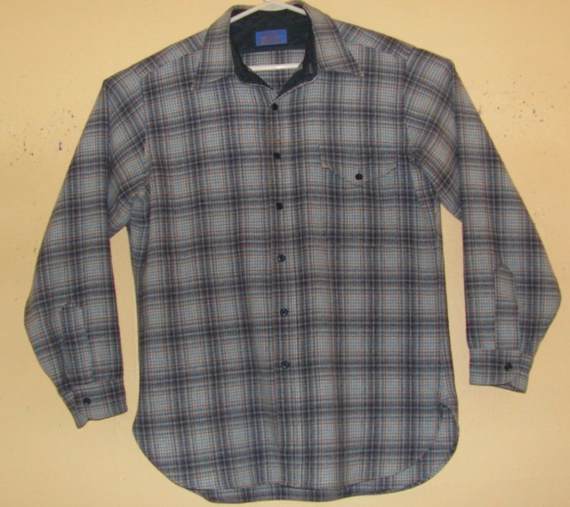 PENDLETON Men`s Size LARGE Button Front Shirt virgin wool COUNTRY TRADITIONALS