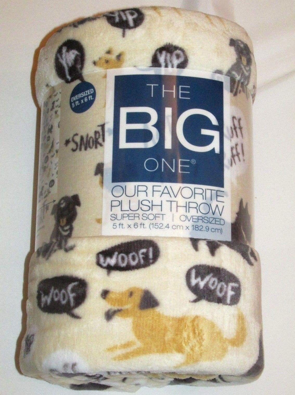 The Big One Throw Blanket Faux Fur Plush Dogs Dog 2017 Oversized Soft 5' x 6'