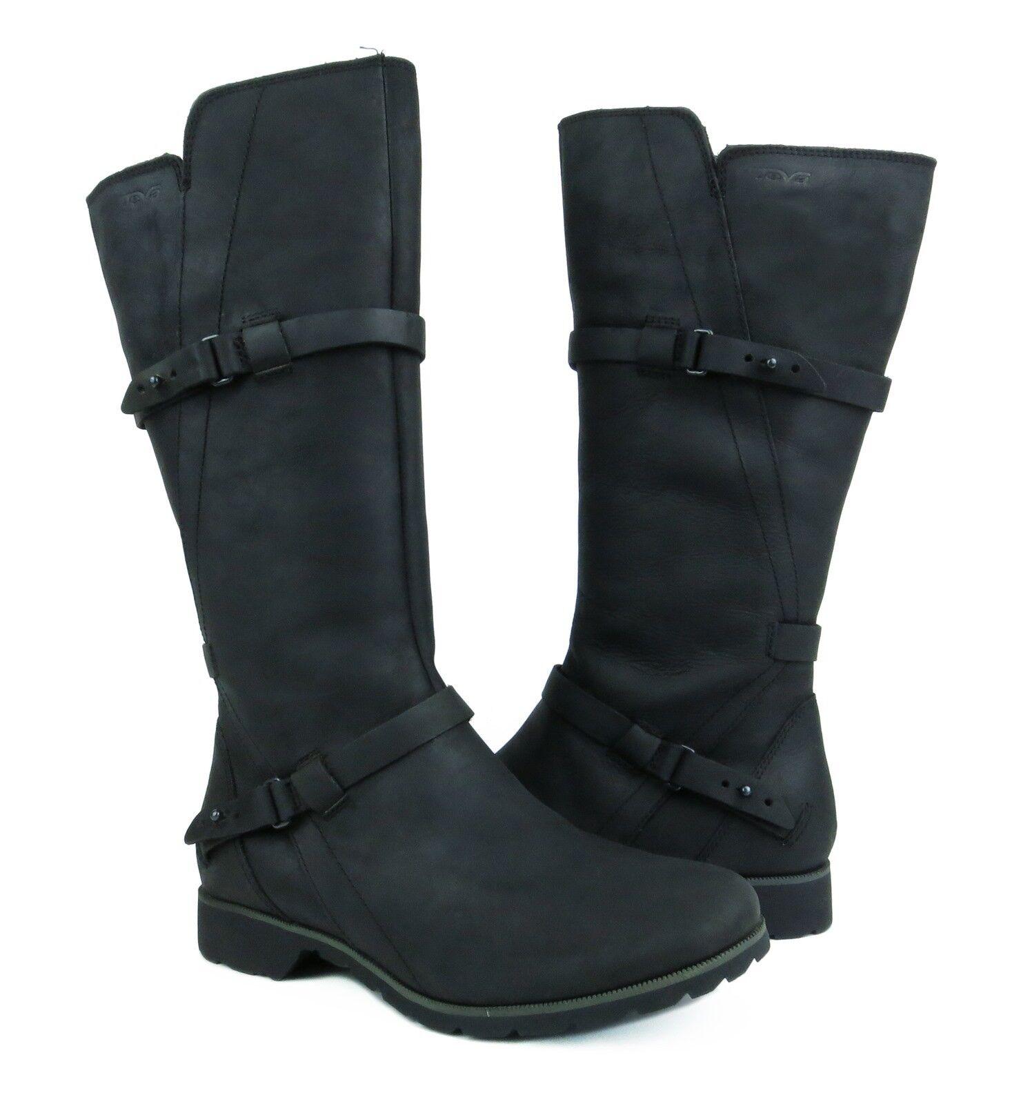 molte sorprese Teva De La Vina Tall nero Leather stivali stivali stivali donna Dimensione 7.5 NIB  outlet online