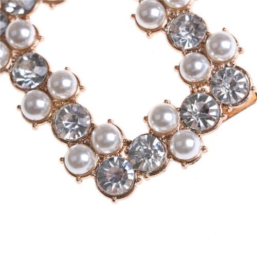 1PC Shoe Clips Rhinestones Metal Faux Pearl Bridal Prom Shoes Buckle Decor OQ