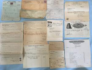 Vtg-Old-Paper-Ephemera-Lot-14-pcs-Papers-Receipts-Checks-Billheads-Lease-Etc
