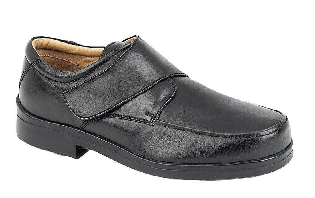 Herren Roamers Leder Super Schuhe Light Klettverschluss Xxx Breit Schuhe Super Schwarz So 01a5bb