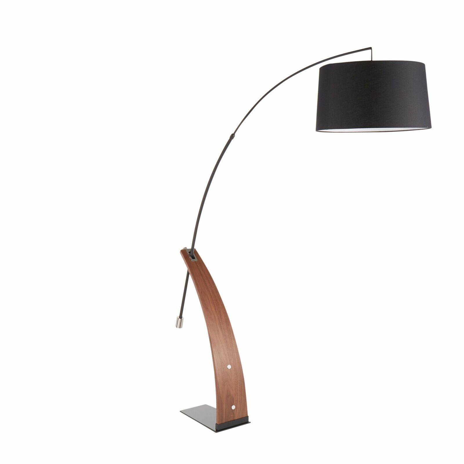 Mid Century Modern Arc Floor Lamp Drum Shade Wood Frame Marble Base Foot Switch For Sale Online Ebay