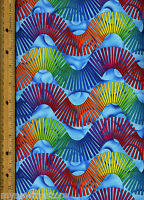 Color Quake 2 Quilt Quilting Fabric By Half Yard 5498-205 Geometric Multicolor