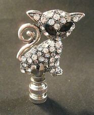 Lamp Finial-Antq.Silver RHINESTONE KITTY CAT Lamp Finial-Satin Nickel Base