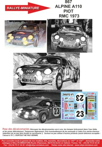 DECALS 1//43 REF 0867 ALPINE RENAULT A110 PIOT RALLYE MONTE CARLO 1973 RALLY WRC